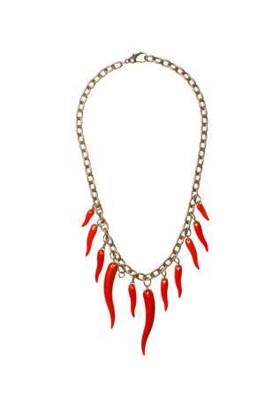 necklase: red hot peppe necklase isolated on the white