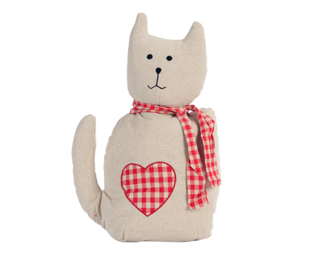 handmade: Funny handmade toy cat isolated on white, Pattern Fabric Stock Photo