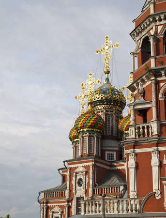 distinguishes: Church of the Nativity of Our Lady, built by the Stroganovs  City of Nizhny Novgorod The Virgin Nativity Church   Stroganovskaya  was built in 1719 in Russian Baroque style paid for by the Stroganov merchants  The church distinguishes itself by a beautifu Stock Photo