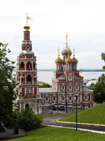 distinguishes: Church of the Nativity of Our Lady, built by the Stroganovs  City of Nizhny Novgorod The Virgin Nativity Church   Stroganovskaya  was built in 1719 in Russian Baroque style paid for by the Stroganov merchants  The church distinguishes itself by a beautifu Editorial