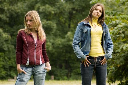 two young girl after fight photo