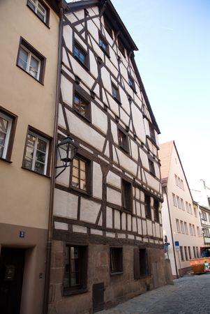 house gables: Street on Nuremberg city, Bavaria, Germany