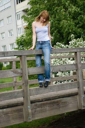 piękne dziewczyny następnie skoki z mostu Zdjęcie Seryjne - 726326