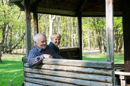 arbor: Older people sitting in the arbor on the forest and relax
