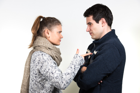 sad heart: young couple, man and woman having fight Stock Photo