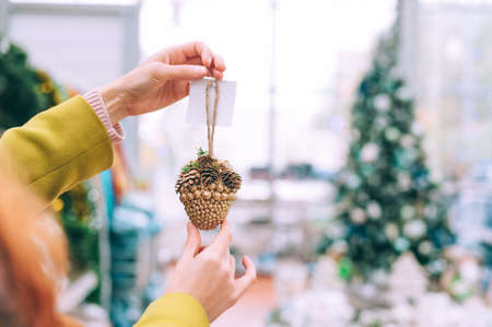 The girl is holding cones in her hands. Against the background of the counter in the store. Concept on the theme of kindergartens for Christmas and New Year