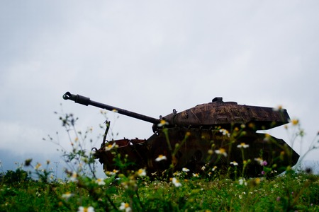 old tank abandonned in Vietnam on an airfield Stock Photo
