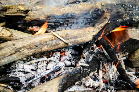 campfire in the summer. burning firewood. fire and smoke. ashes. Stock Photo