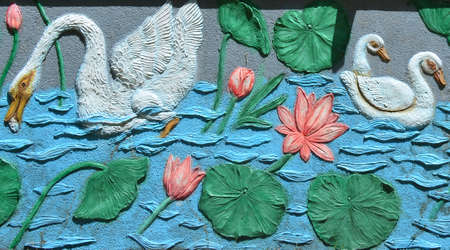 Detail of the exterior wall decoration of a buddhist temple in sri lanka