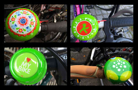 Collage of bicycle bells in Germany Stockfoto