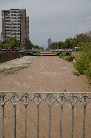 Mapocho river in Santiago de Chile. Chile.