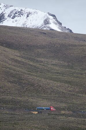Truck on a road of the Lauca National Park. Lauca National Park. Arica y Parinacota Region. Chile.