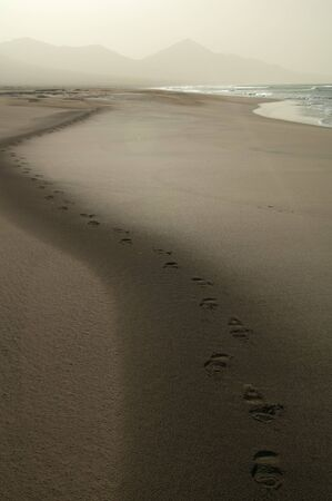 Footsteps on the sand in the Cofete beach. Jandia Natural Park. Fuerteventura. Canary Islands. Spain.
