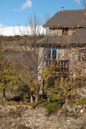 House in the Vio valley in the Pyrenees. Banco de Imagens