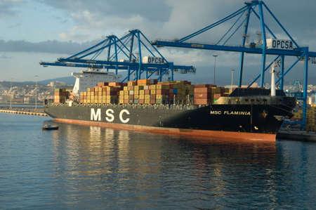 Cargo vessel in the Port of Las Palmas.