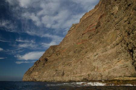 Sea cliff in the Special Natural Reserve of Guigui. Aldea de San Nicolas de Tolentino. Gran Canaria. Canary Islands. Spain.
