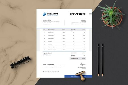 The effective model template for an organization to create or develop its own invoice Zdjęcie Seryjne - 128949373