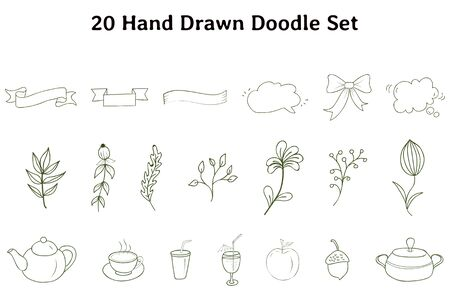 the 20 hand drawn doodle are present in this vector which is perfect doodle and will be more useful Ilustracja