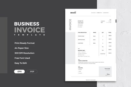 The exact and well designed corporate invoice Reklamní fotografie - 128949426