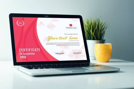 The perfect and exact template for the certificate. Ilustracja