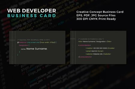 The perfect and exact business card template for a web developer Ilustracja