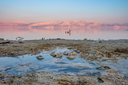 Kids swimming in the dead sea of Israel by sunset time. on the background, the Jordan mountains turn red by this time of the day.