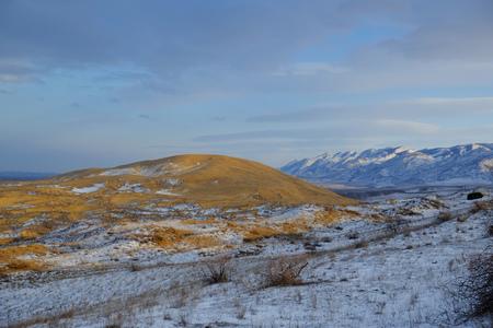 Sarykum barchan in winter. Dagestan, Russia