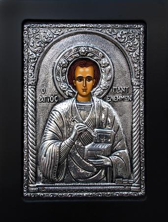 martyr: Great Martyr Panteleons byzantine icon Stock Photo