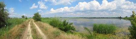 the dnieper: a summer Dnieper backwater panoramic view in Southern Ukraine