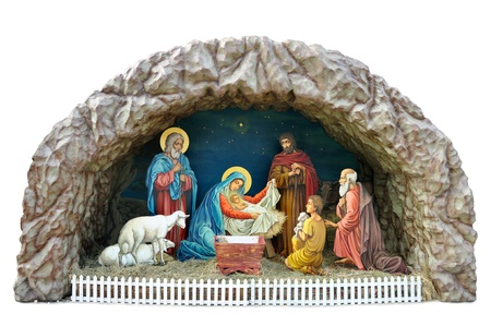 mother mary: a traditional ukrainian Christmas model of Nativity scene with the Child, the Mother Mary and Joseph, shepherds and vicemen and adoration of the Magi