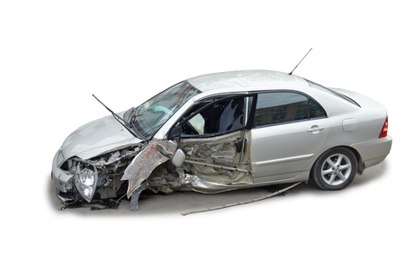A crashed after road accident car over white background