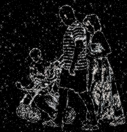 family constellation: constellation image of family with daddy, mommy and baby Stock Photo