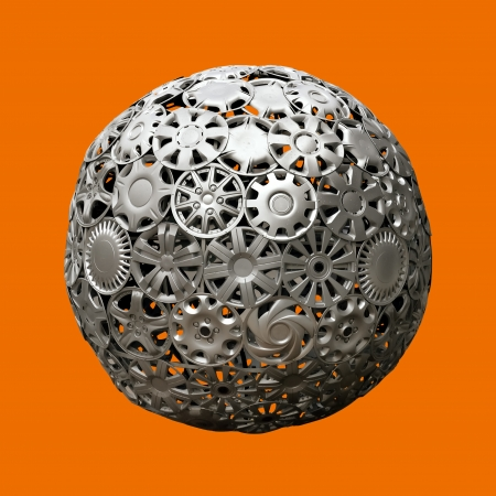 hubcaps: image of advertising ball made of automobile hubcaps over monochromatic background