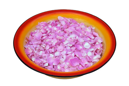 confiture: tea rose petals in a large enamel preserving pan before preserving confiture
