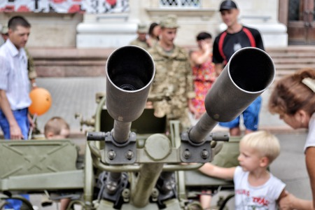 earnest: KHERSON, UKRAINE - AUGUST 24, 2016: Show of Ukrainian army machinery and armament on celebrating 25-th Independence Day of Ukraine as the demonstration of dead earnest  to resist Russian aggression.