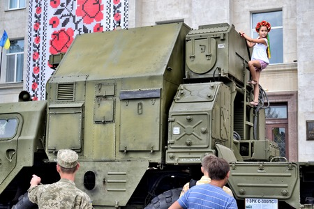 antiterrorist: KHERSON, UKRAINE - AUGUST 24, 2016: Show of Ukrainian army machinery and armament on celebrating 25-th Independence Day of Ukraine as the demonstration of dead earnest  to resist Russian aggression.