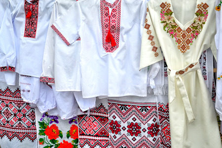 masterly: traditional national Ukrainian handiwork embroidered and decorated shirts, dresses and towels  popular nowadays in Ukraine as manifestation of national authentication and as just a modish style Stock Photo