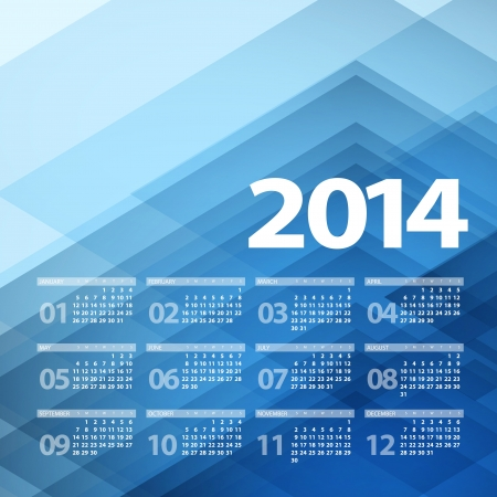 2014 Calendar. Vector illustration Vector