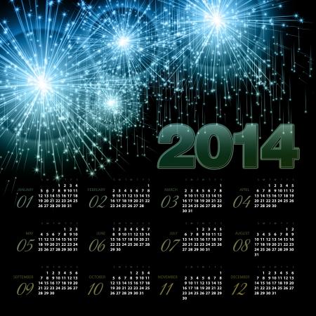 2014 Calendar. Vector illustration