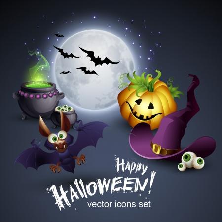Vector Halloween  Background with Pumpkin, Hat, Moon,