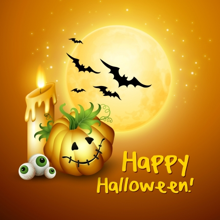Vector Halloween  Background with Pumpkin, Hat, Moon, Vector