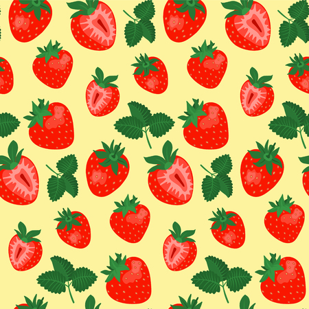 Seamless pattern with strawberries and leaves on yellow background. Vector illustration.