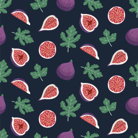 Seamless pattern with figs and leaves on a dark blue background. Design for wallpaper, fabric, decor, textile. Vector backdrop.