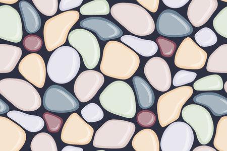 Nahtloses Muster mit glattem Kiesel. Bunter nasser Kiesel der Küste. Spa Steine flache Bauform. Vektor-illustration