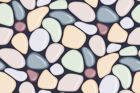 Seamless pattern with smooth pebble. Colorful seaside wet pebble. Spa stones flat design. Vector illustration.