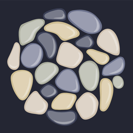 Sea pebbles are located in a circle. Abstract vector illustration.
