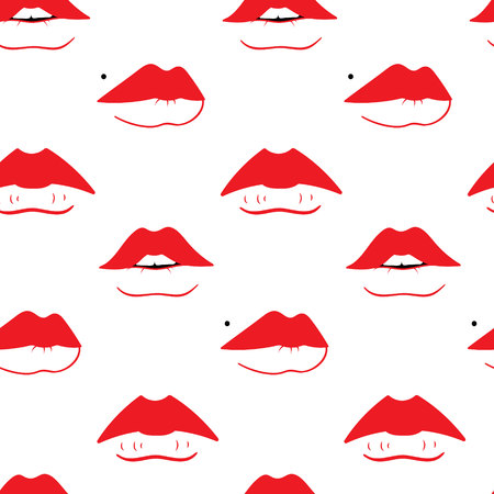 Seamless pattern with different  female lips shapes. Fashion sketch background. Illustration