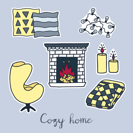 Vector hand drawn stickers set of Hygge elements. Cozy home interior details.  イラスト・ベクター素材