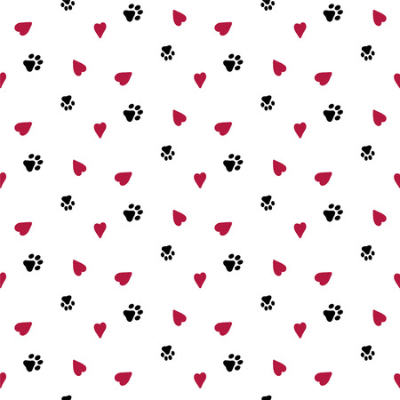 Seamless background with hearts and dog footprint . Wallpaper, graphic design, vector illustration. Illustration