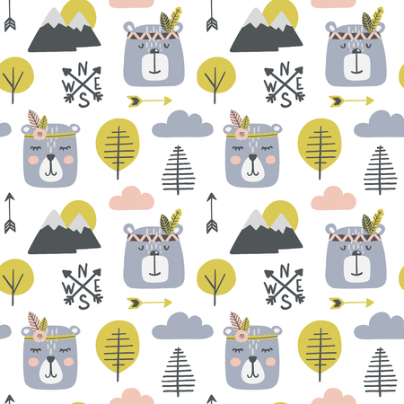 Seamless pattern with cute bears indians in a wood. Illustration